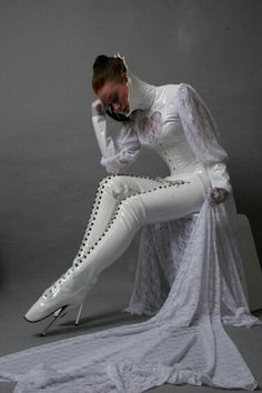 Boot fetish? Try these: White #latex crotch-high ballet #boots