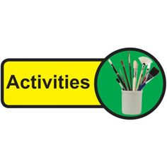 """These Activities Room Dementia Door Signs are an information type of sign specially designed for dementia patients which consist of the word """"Activities"""" which is printed in black and displayed on a vibrant yellow background and right of the message Dementia Activities, Home Activities, Signs Of Dementia, Activity Room, Plastic Signs, Sign Materials, Brass Material, Door Signs, Sign Design"""