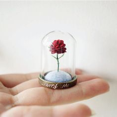 Little Prince and Rose Mini Velvet Flower Merry Me Hand Lettering Crystal Glass Cover Le Petit Prince Felted Fantasy Planet Vintage Red Rose