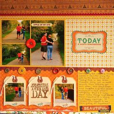 #papercraft #scrapbook #layout.   color blocking w/ Crate Paper's Farmhouse collection