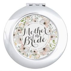 Mother of the Bride Floral Wedding Compact Mirror - home gifts ideas decor special unique custom individual customized individualized