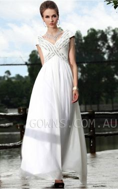 Tencel A-line V-neck Cap Sleeved Beaded Pleats With Long To The Dance Party / Evening Dress Floor Bridesmaid Dresses Uk, Prom Girl Dresses, Wedding Dresses Uk, White Formal Gowns, Formal Dresses, Dresses 2014, Inexpensive Wedding Dresses, Beautiful Dresses For Women, Chiffon Evening Dresses