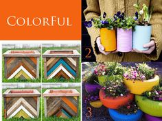 DIY Outdoor planters - I LOVE the pile of painted tires!