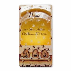 HONEY BEE ,BEEKEEPER /apiary,beekeeping supplies Shipping Label ,Medieval miniature from 14th. century . Elegant , classy,colorful address label design easily customizable for your business.