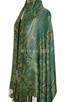"Triple Layer Sparkling Pashmina Shawl Wrap Green | eBaySize* 28"" x 76"" Fringes* 3"" at both ends"
