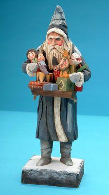 Santa folk art carving, hand carved Santas, carved Santas