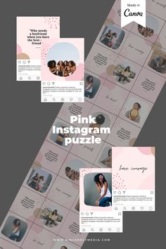 Get the Instagram puzzle look with this amazing template, made on Canva so all you have to do is plug and play with your own branding.    Instagram, Instagram design, Instagram hacks, Instagram tips and tricks, Instagram tips, Instagram templates, Creative Market, Instagram Canva Template, Instagram aesthetic, Instagram grid, Instagram perfect grid, Instagram content, Instagram content creation, Instagram content template, instagram post ideas, instagram content ideas, instagram design Instagram Grid, Pink Instagram, Instagram Design, Instagram Tips, Instagram Posts, Grid Layouts, Instagram Templates, Change Background, No Photoshop