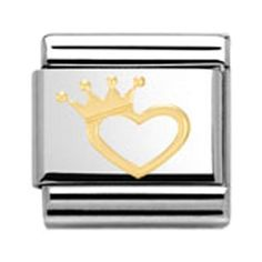 Buy Gold Heart with Crown Charm from Nomination at Fabulous Collections the leading on-line retailer of contemporary designer jewellery Nomination Charms, Nomination Bracelet, Heart Crown, Jewelry Accessories, Jewelry Design, Carat Gold, Heart Of Gold, Heart Charm, Wedding Jewelry