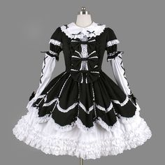 Black And White Bows Elegant Gothic Lolita Dress