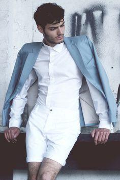 White  White shirt  White shorts  Fashion boy