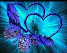 Blue :: blue heart burst with butterfly