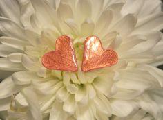 Dainty Pink and Rose Gold Heart Stud Earrings by kellyannwilson, $8.00