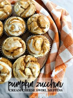 Pumpkin Zucchini Cream Cheese Swirl Muffins Pumpkin Zucchini Muffins, Pumpkin Squash, Pumpkin Spice, Cream Cheese Topping, Cream Cheese Muffins, Pumpkin Recipes, Fall Recipes, Yummy Recipes, Keto Recipes