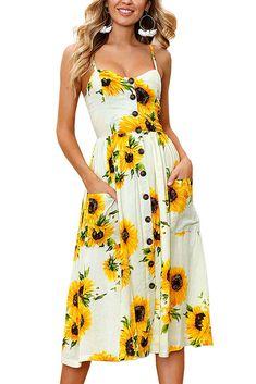 Frauen Kurzarm Streifen Floral Tie Taille Swing Knielanges Kleid mit Taschen
