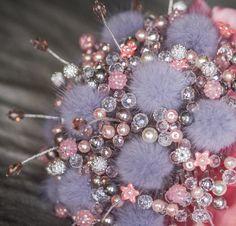 "Wedding Bouquet ""LYRA""Bridal bouquet-Bouquet beads-Bunch of beads-Amazing-Brooch bouquet crystals- Natural mink fur-Pink-Gray- Jewellery"