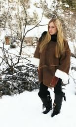 laced shearling poncho
