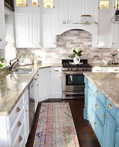 How beautiful is this kitchen by my friend Mysha I absolutely love the two toned kitchen, the brick backsplash, that gold hardware, the rug. Mysha is definitely you guys so go give her some love on this Decorative Tile Backsplash, Backsplash Ideas, Kitchen Backsplash, Kitchen Centerpiece, Kitchen Decor, Kitchen Cabinets Grey And White, Two Tone Kitchen Cabinets, Closet Ideas, Gold Hardware
