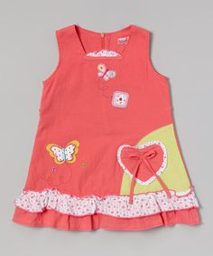This Red Butterfly & Heart Ruffle Dress - Infant, Toddler & Girls by Hi-D is perfect! #zulilyfinds