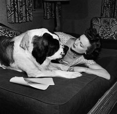 Betty White with a Saint Bernard