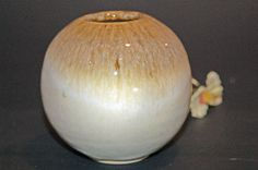 Round Pottery Vase with Coffee/Cream Glaze by nhfinestoneware, $19.95