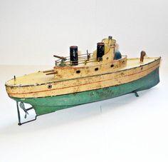 Antique tin toy ship