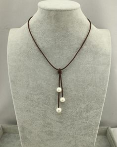Real pearl leather cord necklaceBrown Leather by WangDesignJewelry