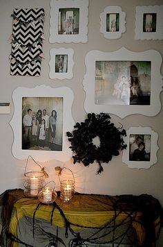 Family Picture Wall: Ghostly Edition!  Great tutorial to create your own