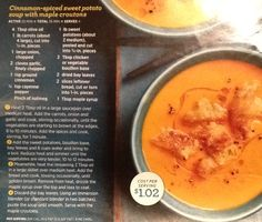 Cinnamon spiced sweet potato soup with maple croutons