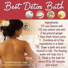 Detox Bath. Love Epsom salt baths, but this looks more fun.