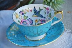 Pretty Aynsley Tea Cup and Saucer, Capistrano, Bird Aqua/Turquoise Floral, Gilt, England - Adam Sine Vintage Cups, Vintage China, China Tea Cups, Teapots And Cups, My Cup Of Tea, Tea Cup Saucer, Tea Party, Tea Sets, Tea Time