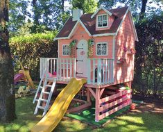 Wooden house on stilts for children with slide Super Bavaria, slatted porch, mansard roof and inside camita. Pallet Playhouse, Backyard Playhouse, Build A Playhouse, Kids Backyard Playground, Backyard For Kids, Backyard Projects, Cubby Houses, Play Houses, Backyard Layout