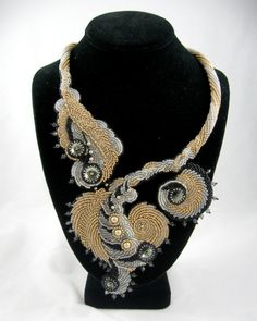 Bead Embroidery Necklace, Couture Champagne, Bridal Jewelry, Cocktail Necklace, Statement