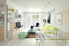 salon comedor pequeno sofa color vibrante ideas