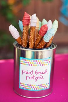 Polka Dot & Rainbow Paint Themed Birthday Party // Hostess with the Mostess® Paint brush pretzel sticks. So easy and cute for a girls birthday party. Colors could be customized to pastels, primary colors or any theme color. Artist Birthday Party, Birthday Painting, 6th Birthday Parties, Painting Party Kids, Birthday Ideas, Kids Paint Party, 7th Birthday, Teen Parties, Craft Birthday Party