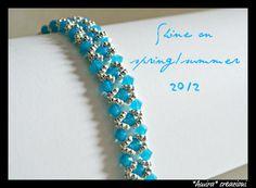 Caribbean blue opal Swarovski crystal bracelet by AmiraCreazioni