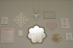 Pink and Gray Nursery Gallery Wall with fun pops of gold