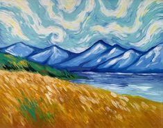 Van Gogh Mt Cook Paint And Sip, Van Gogh, Landscape Paintings, Art Ideas, Oil, Landscape, Landscape Drawings, Butter