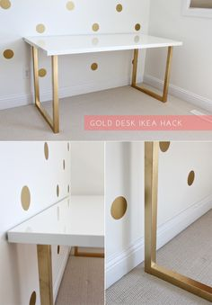 I like this. I want to do this with a white desk and just spray paint the legs gold, its a easy DIY