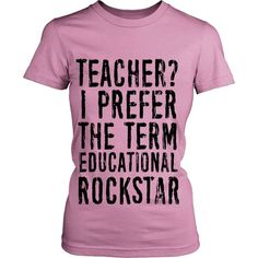 Educational Rockstar Teacher T-Shirt (Black Logo)