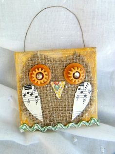 Miniature Mixed Media Collage on Canvas Happy Owl Vintage Findings Perfect for Wall or Christmas Tree