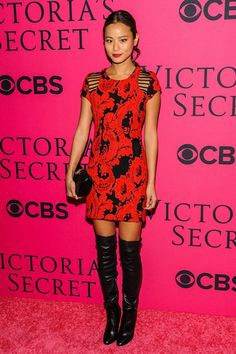 Jamie Chung . Love the red dress and black boots! Hot!!