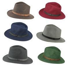 3a5d7a352f0c2 Details about Unisex Mens Women Vintage 100% Felt Wool Wide Brim Crushable Fedora  Hat 4 Sizes