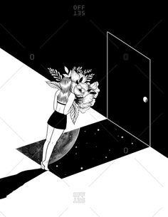 Black and white illustration of a woman in front of a doorway leading to outer…