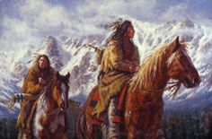 """""""Warriors of the High Country"""" features Ute warriors challenging nature by traveling in the Colorado high country in the dead of winter. By James Ayers."""
