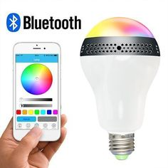 Gtide App Control Bluetooth E26 LED Light Bulb with SpeakerDimmable RGB Color Changing Smart LED Lights-Works with IPhone IPad Android Phone and Tablet