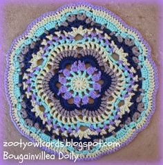 Zooty Owl's Crafty Blog: Bougainvillea Doily Pattern Free pattern and pic tutorial here: http://zootyowlcards.blogspot.com/2014/07/bougainvillea-doily-pattern.html