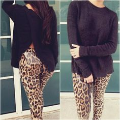 Cozy up in Style...Fuzzy Charcoal Sweater Sequin Leopard Leggings