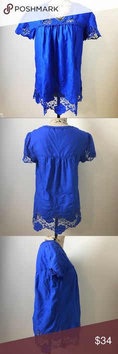 "Anthro Vanessa Virginia Lace Blouse By Vanessa Virginia for Anthropologie. Beautiful bright royal blue color. Lace and embroidery throughout. 100% cotton. Size 6 but loose fit. Bust is 18.5"" across and length is 26."" Measurements taken when laid flat and unstretched. Excellent condition no flaws. Bundle to save or make an offer! Anthropologie Tops"