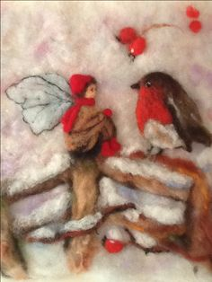 Winter elf.  Waldorf inspired needle felted tapestry.                                                                                                                                                                                 More