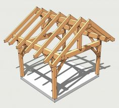 12x14 Post and Beam Shed - http://timberframehq.com/12x14-timber-frame-plan/